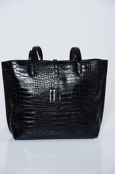 Geanta dama Top Secret neagra casual din piele ecologica cu manere de lungime medie