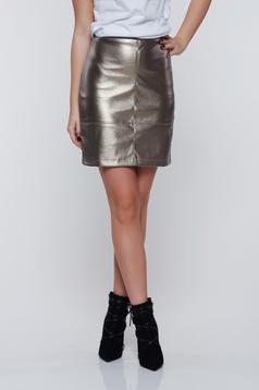 Fusta StarShinerS argintie casual cu talie inalta cu aspect metalic