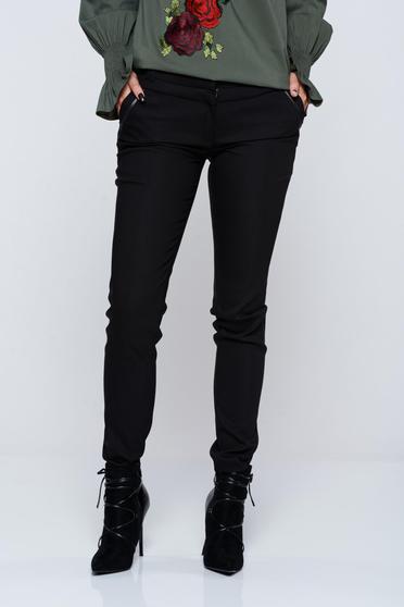 Pantaloni LaDonna negri office conici cu buzunare