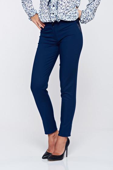 Pantaloni LaDonna albastru-inchis office conici din bumbac