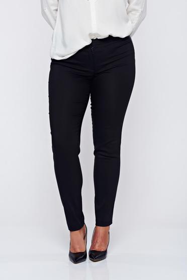 Pantaloni LaDonna negri office conici din bumbac