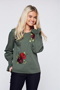 Bluza dama LaDonna verde-inchis brodata cu croi larg