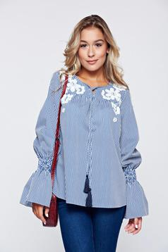 Bluza dama LaDonna albastra din bumbac brodata cu maneci clopot