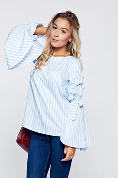 Bluza dama LaDonna albastra-deschis cu dungi din bumbac cu croi larg cu maneci clopot