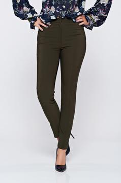 Pantaloni LaDonna verde inchis office conici cu buzunare