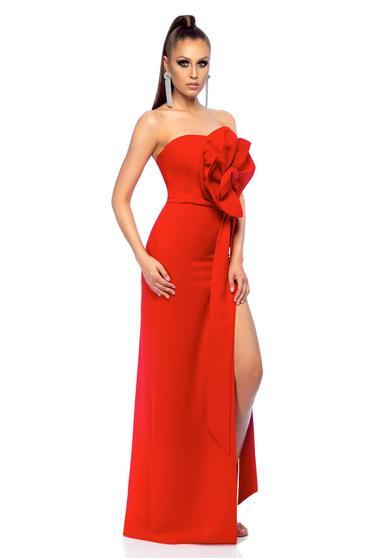 Rochie rosie Ana Radu de lux din material usor elastic cu accesoriu in forma de floare