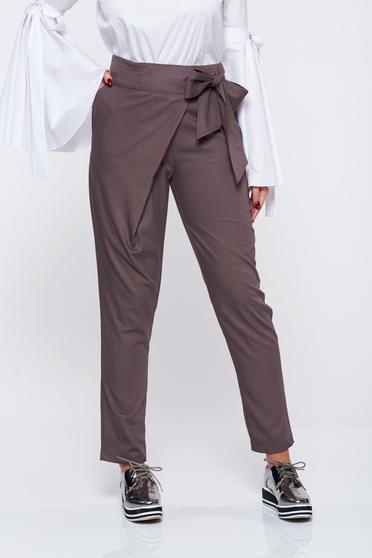 Pantaloni PrettyGirl gri inchis office din stofa cu talie medie
