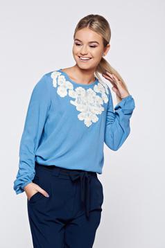 Bluza dama LaDonna albastra office brodata cu croi larg