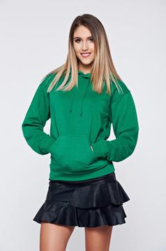 Pulover Top Secret verde casual din bumbac cu gluga