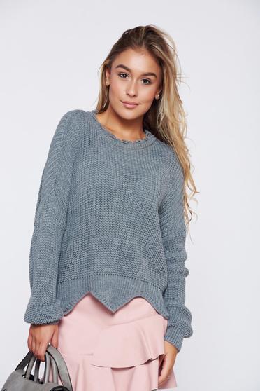 Pulover gri casual tricotat tiv decupat