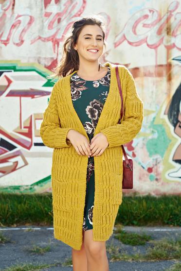 Cardigan galben casual tricotat cu buzunare