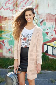 Cardigan rosa casual tricotat cu buzunare
