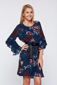 Rochie albastru-inchis de zi din voal cu maneci clopot