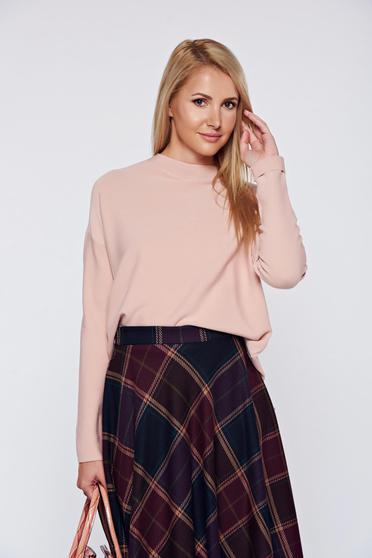 Pulover rosa casual material gros accesorizat cu fermoar
