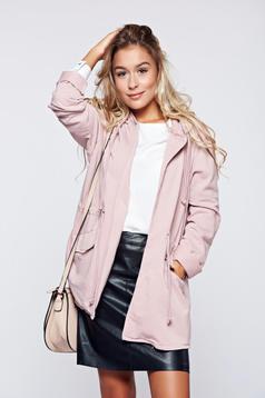 Cardigan rosa casual din bumbac cu buzunare