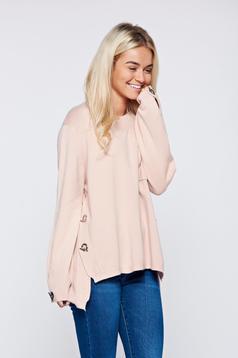Pulover rosa casual tricotat cu croi larg