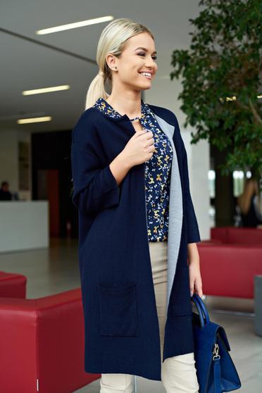 Cardigan albastru-inchis casual cu croi larg din material tricotat cu buzunare