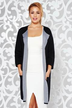 Cardigan negru casual cu croi larg din material tricotat cu buzunare