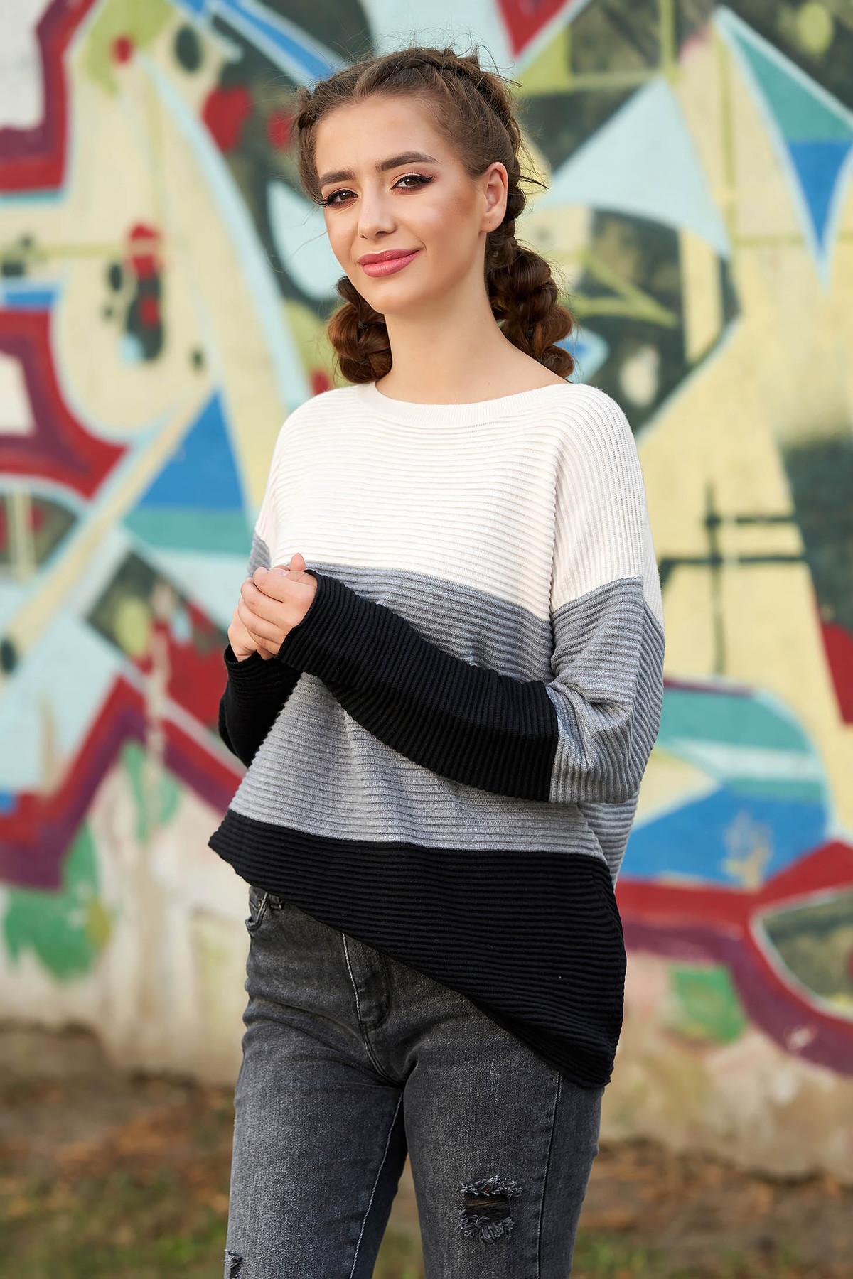 Pulover SunShine gri casual tricotat cu croi larg
