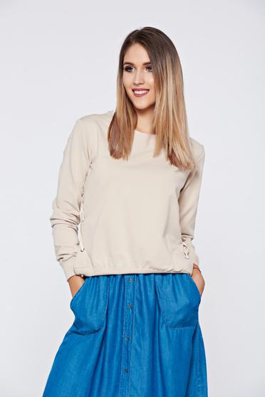 Bluza dama Top Secret piersica casual din bumbac cu croi larg