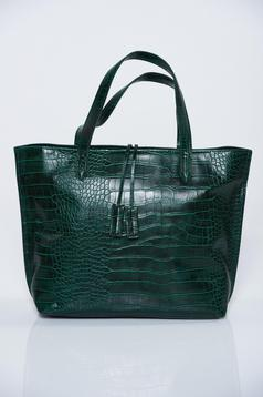 Geanta dama verde casual material lacuit cu accesoriu metalic