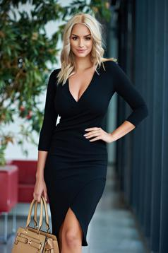 Rochie StarShinerS neagra office petrecuta tip creion din material usor elastic