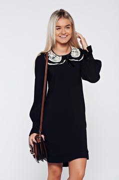 Rochie LaDonna neagra eleganta cu croi larg guler detasabil