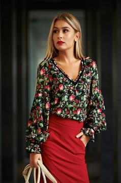Bluza dama LaDonna neagra office cu croi larg cu imprimeu floral
