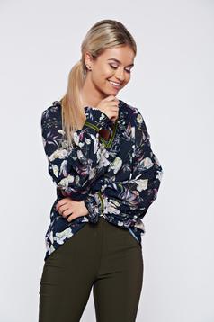 Bluza dama LaDonna albastru-inchis office cu croi larg cu imprimeu floral