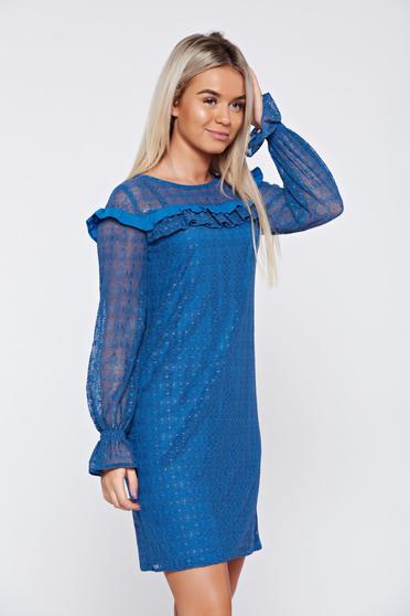 Rochie LaDonna albastra eleganta din material dantelat cu volanase