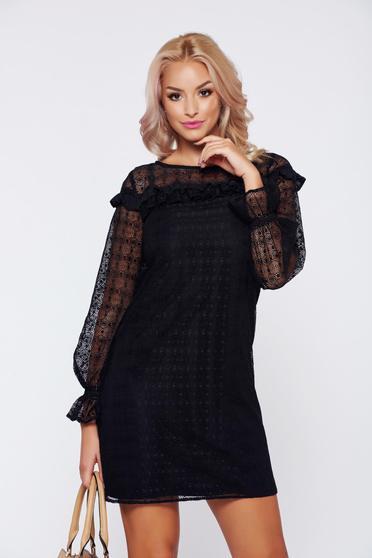 Rochie LaDonna neagra eleganta din material dantelat cu volanase