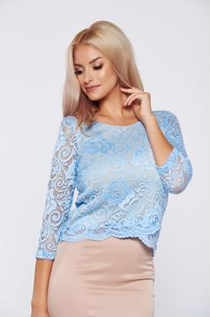 Bluza dama StarShinerS albastra eleganta din material dantelat