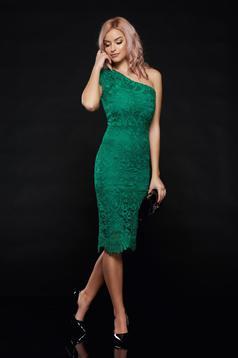 Rochie verde de ocazie tip creion din material dantelat