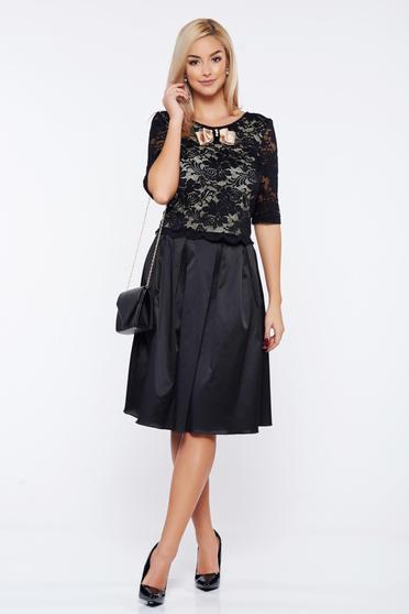 Set StarShinerS negru elegant din material dantelat si material satinat