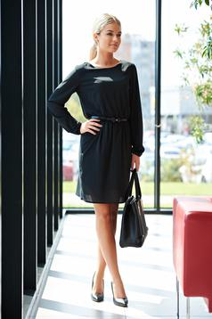 Rochie StarShinerS neagra de zi din voal captusita pe interior cu elastic in talie