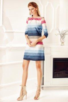 Rochie Fofy albastra office cu buzunare cu maneci trei-sferturi