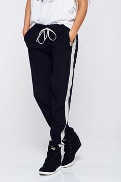 Pantaloni PrettyGirl negri casual cu buzunare cu elastic in talie