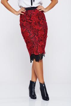 Fusta StarShinerS rosie eleganta tip creion dantela tricotata