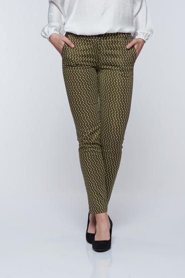 Pantaloni PrettyGirl verzi casual conici cu imprimeu geometric