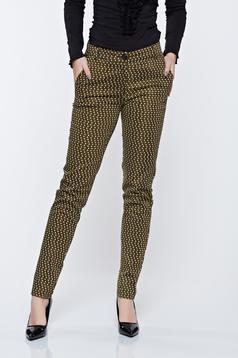 Pantaloni PrettyGirl khaki conici cu imprimeu geometric