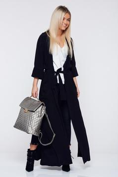 Cardigan PrettyGirl negru casual accesorizata cu cordon