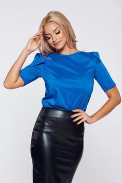 Bluza dama PrettyGirl albastra office din stofa cu maneca scurta