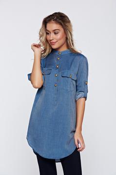 Bluza dama PrettyGirl albastra casual din bumbac cu croi larg