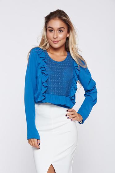 Bluza dama LaDonna albastra eleganta cu croi larg cu aplicatii de dantela