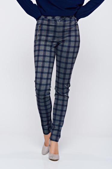 Pantaloni LaDonna albastru-inchis office conici cu talie medie carouri