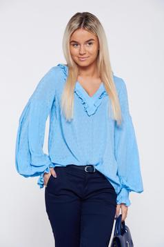 Bluza dama LaDonna albastra-deschis office eleganta cu volanase la maneca