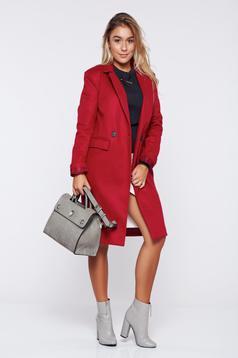 Palton rosu basic drept din stofa captusita pe interior