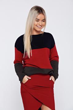 Pulover rosu casual tricotat cu croi larg