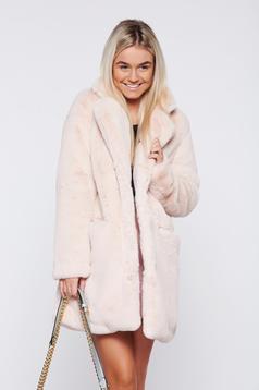 Blana roz deschis elegant cu buzunare in fata captusit pe interior