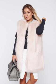 Vesta de blana rosa casual croi drept
